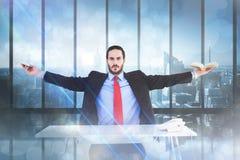 Imagem composta de homem de negócios unsmiling que senta-se com os braços estendido foto de stock