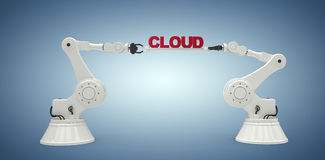 A imagem composta de imagem gerada por computador das mãos robóticos mecânicas que guardam a nuvem text Fotografia de Stock