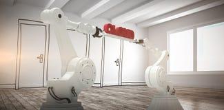 A imagem composta de imagem gerada por computador das mãos robóticos mecânicas que guardam a nuvem vermelha text Imagens de Stock