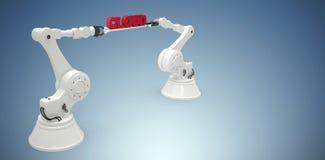 A imagem composta de imagem gerada por computador das mãos robóticos que guardam a nuvem text Imagem de Stock Royalty Free