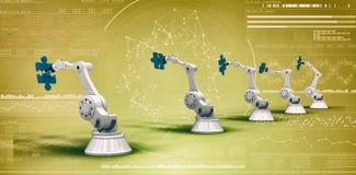 Imagem composta de máquinas modernas com enigmas de serra de vaivém 3d Imagem de Stock Royalty Free