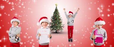 Imagem composta de meninos festivos diferentes Foto de Stock