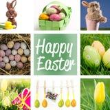 Imagem composta de ovos da páscoa coloridos salpicados em uma cesta de vime verde Fotos de Stock Royalty Free