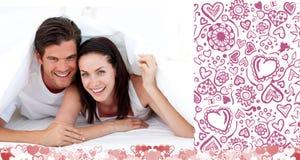 Imagem composta de pares bonitos dos Valentim Fotografia de Stock