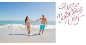 Imagem composta de pares bonitos dos Valentim Fotos de Stock Royalty Free