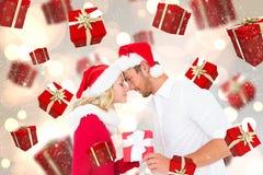 Imagem composta de pares festivos novos Imagens de Stock Royalty Free