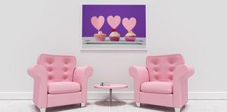 Imagem composta de poltronas e da tabela cor-de-rosa contra a moldura para retrato vazia ilustração stock