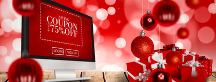 Imagem composta de presentes vermelhos com curva branca Foto de Stock Royalty Free