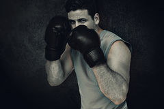 A imagem composta de pugilista masculino determinado centrou-se sobre seu treinamento Fotografia de Stock