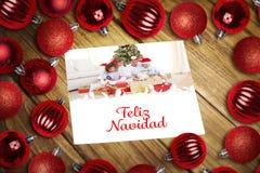 Imagem composta de quinquilharias do Natal na tabela Foto de Stock Royalty Free