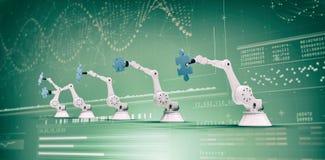 Imagem composta de robôs modernos com enigmas de serra de vaivém 3d Fotos de Stock