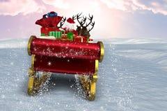 Imagem composta de Santa que voa seu trenó ilustração stock