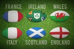 Imagem composta de seis bolas de rugby das nações ilustração royalty free