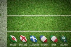 Imagem composta de seis bolas de rugby das nações ilustração do vetor