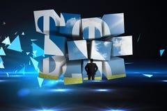 Imagem composta de sinais do homem de negócios e de dólar na tela abstrata Fotos de Stock Royalty Free