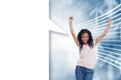 Imagem composta de uma mulher feliz nova com bolha do discurso Fotos de Stock