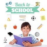 Imagem composta de volta à mensagem da escola com ícones Imagem de Stock Royalty Free