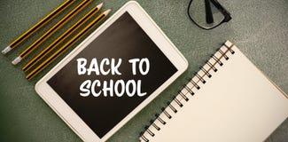 Imagem composta de volta ao texto de escola no fundo branco Imagens de Stock