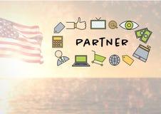imagem composta do ícone s do sócio contra o mar e a bandeira americana Fotografia de Stock