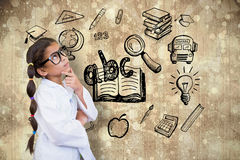 A imagem composta do aluno bonito vestiu-se acima como o cientista Fotos de Stock Royalty Free