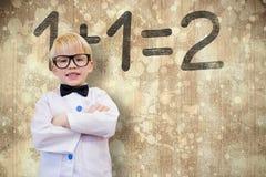 A imagem composta do aluno bonito vestiu-se acima como o professor Imagens de Stock Royalty Free