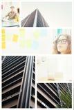 Imagem composta do artista concentrado que olha notas pegajosas coloridas Imagens de Stock Royalty Free