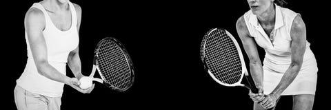 Imagem composta do atleta que joga o tênis com uma raquete imagem de stock