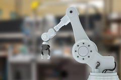 Imagem composta do braço robótico com garra 3d Fotos de Stock Royalty Free