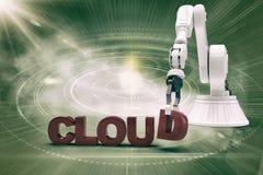 Imagem composta do braço robótico que arranja o texto 3d da nuvem Foto de Stock