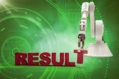 Imagem composta do braço robótico que arranja o texto 3d do resultado Fotografia de Stock