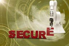 Imagem composta do braço robótico que arranja o texto seguro 3d Foto de Stock Royalty Free