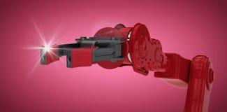 Imagem composta do braço vermelho do robô com garra preta 3d Foto de Stock Royalty Free