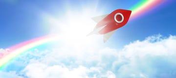 Imagem composta do brinquedo branco e vermelho da nave espacial Imagens de Stock Royalty Free
