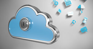 Imagem composta do buraco da fechadura no cacifo azul 3d da forma da nuvem Imagens de Stock Royalty Free