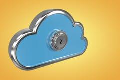 Imagem composta do buraco da fechadura no cacifo 3d da forma da nuvem Imagem de Stock Royalty Free
