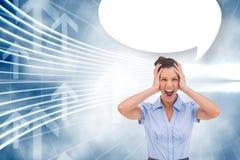Imagem composta do businessswoman forçado com mão em sua bolha da cabeça e do discurso Fotografia de Stock