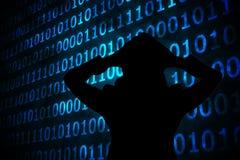 Imagem composta do código binário azul brilhante no fundo preto Fotos de Stock