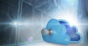 Imagem composta do cacifo azul na forma da nuvem com chave 3d Fotos de Stock