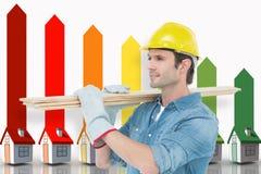 Imagem composta do carpinteiro que leva pranchas de madeira sobre o fundo branco Imagens de Stock