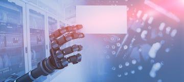 Imagem composta do cartaz branco robótico 3d da terra arrendada de braço Imagem de Stock