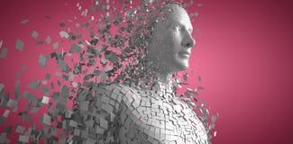 A imagem composta do cinza digital pixelated o homem 3d ilustração stock