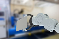 Imagem composta do close up do cartaz 3d da terra arrendada de braço da hidráulica Imagem de Stock Royalty Free