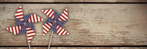 Imagem composta do composto da imagem 3d do girândola com teste padrão da bandeira americana Foto de Stock