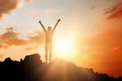Imagem composta do desportista que comemora sua vitória imagem de stock royalty free