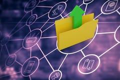 Imagem composta do dobrador amarelo com símbolo da seta do carregamento Fotografia de Stock Royalty Free