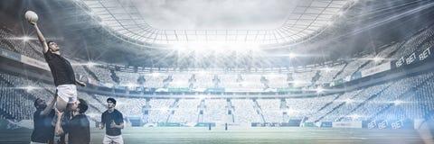 Imagem composta do estádio contra o céu Fotografia de Stock Royalty Free