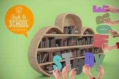 Imagem composta do estudo colorido da soletração do alfabeto sustentado mais por povos Imagem de Stock