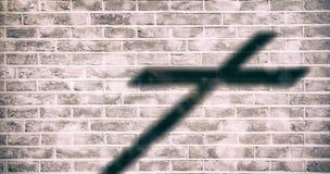 Imagem composta do fim acima da cruz 3d de madeira Fotografia de Stock
