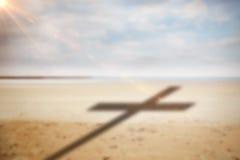 Imagem composta do fim acima da cruz 3d de madeira Imagem de Stock Royalty Free