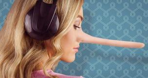 Imagem composta do fim acima de uma mulher que escuta a música Imagens de Stock